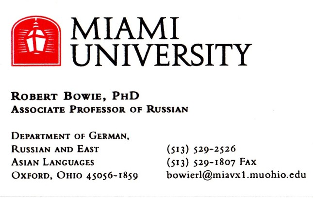 bowie vizitka Miami University