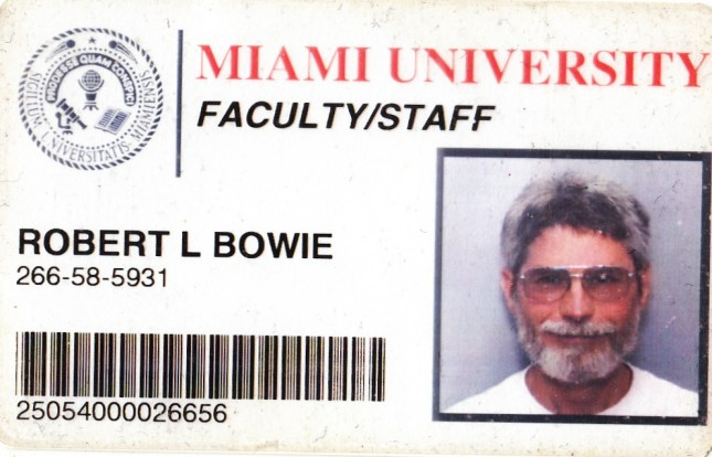 robert Bowie id card for Miami University